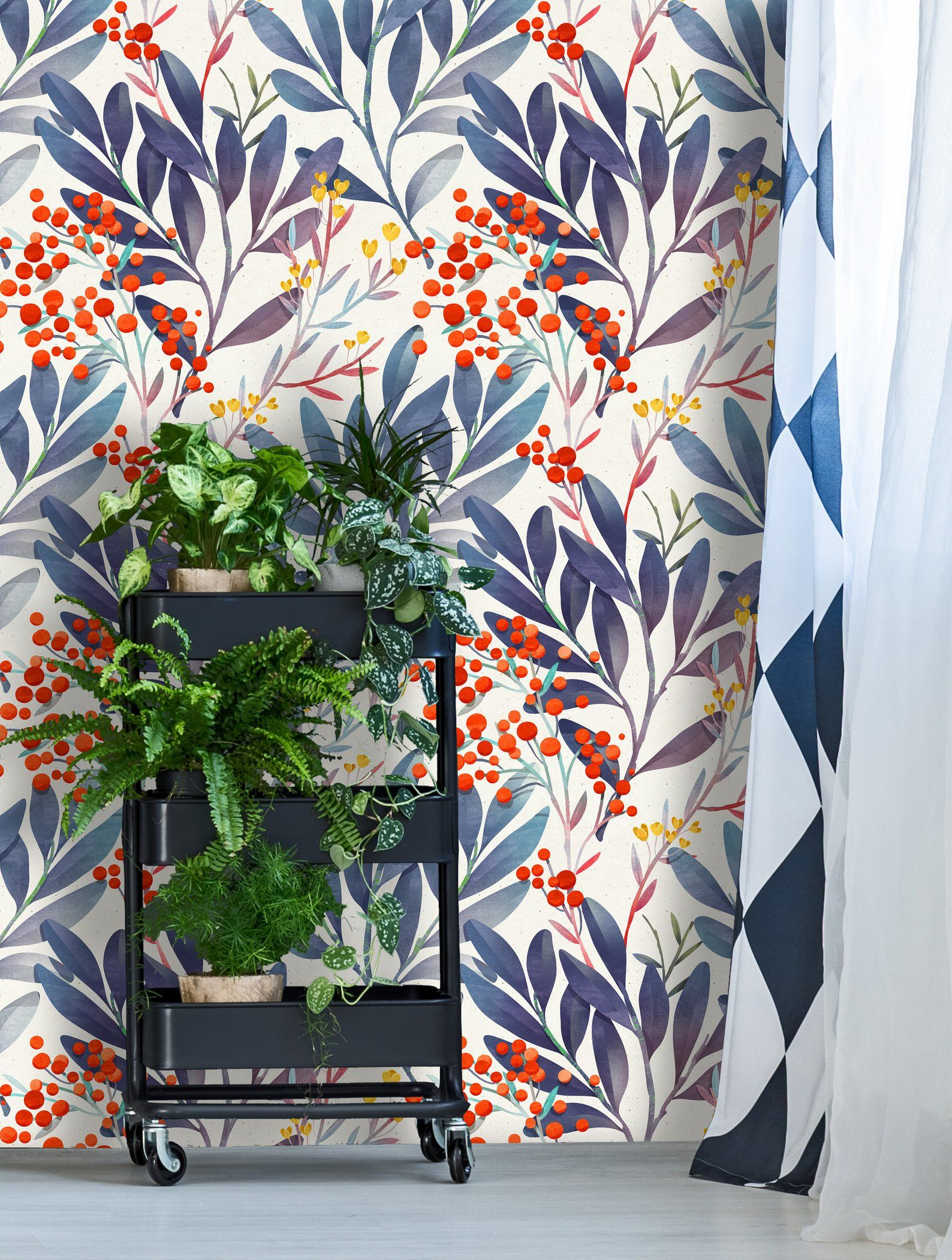 Removable Wallpaper Self Adhesive Wallpaper Wild Berries