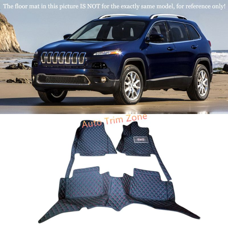 Black Interior Leather Floor Mats Carpets Foot Pads For Jeep Cherokee Sport