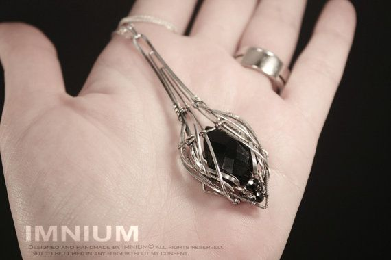 Black vial - elongated teardrop pendant - black onyx and spinel in sterling and fine silver