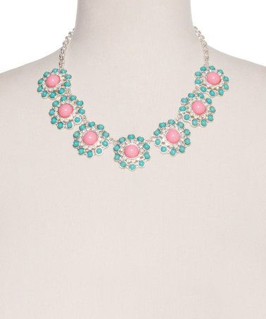 Another great find on #zulily! Coral & Jade Floral Statement Necklace #zulilyfinds