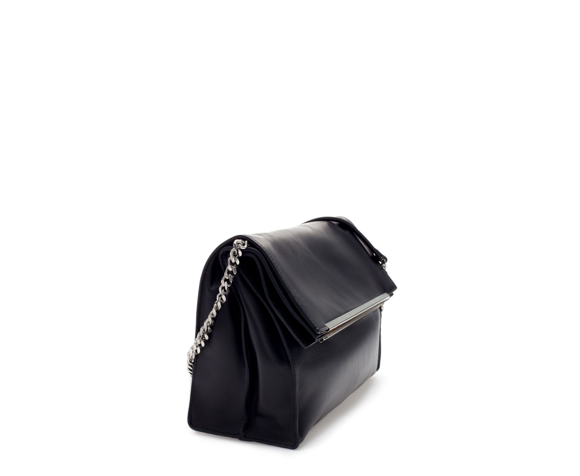 Zara New This Week Leather City Bag With Metal Tab