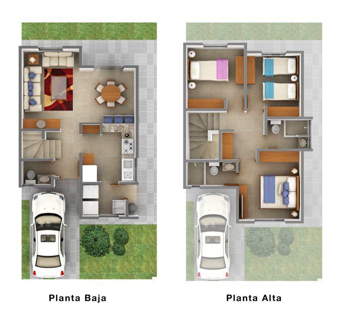 planos de casas de dos pisos 3 dormitorios