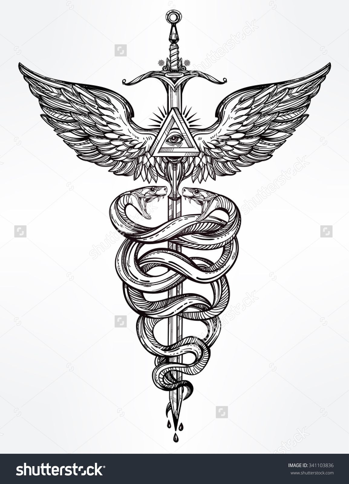 Caduceus symbol of god mercury highly detailed snakes wrapped caduceus symbol of god mercury highly detailed snakes wrapped around winged staff hand buycottarizona Image collections