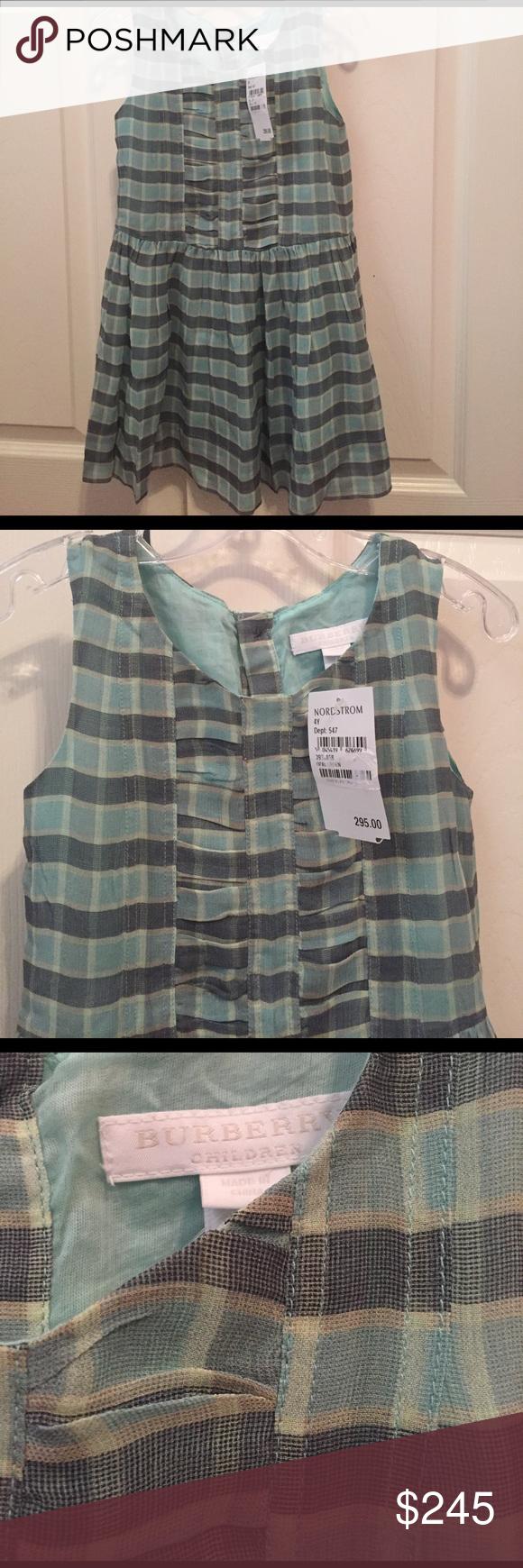 Beautiful blue new with tags burberry silk dress burberry dress