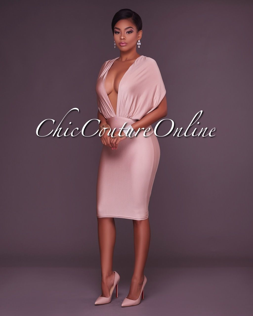 Gayle Champagne Plunging V Open Back Body-Con Dress