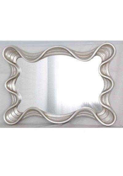 Espejo pan de plata marco con ondas en 2019 espejos - Espejos marco plateado ...