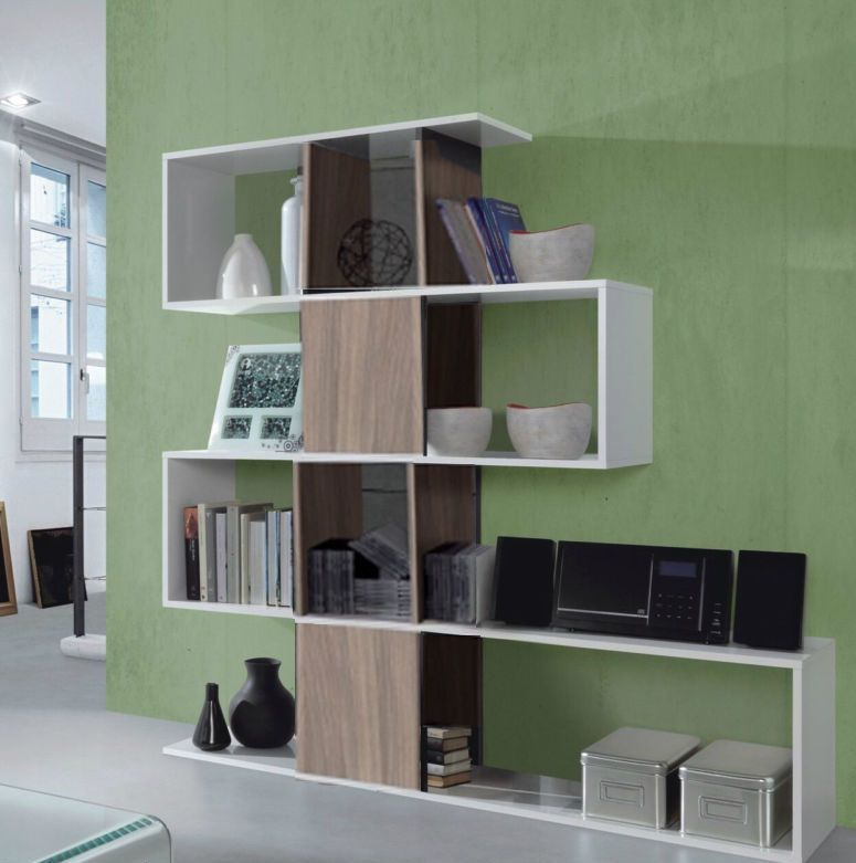 Large Walnut White Gloss Shelf Zig Zag Bookcase Room Divider Shelving  Display