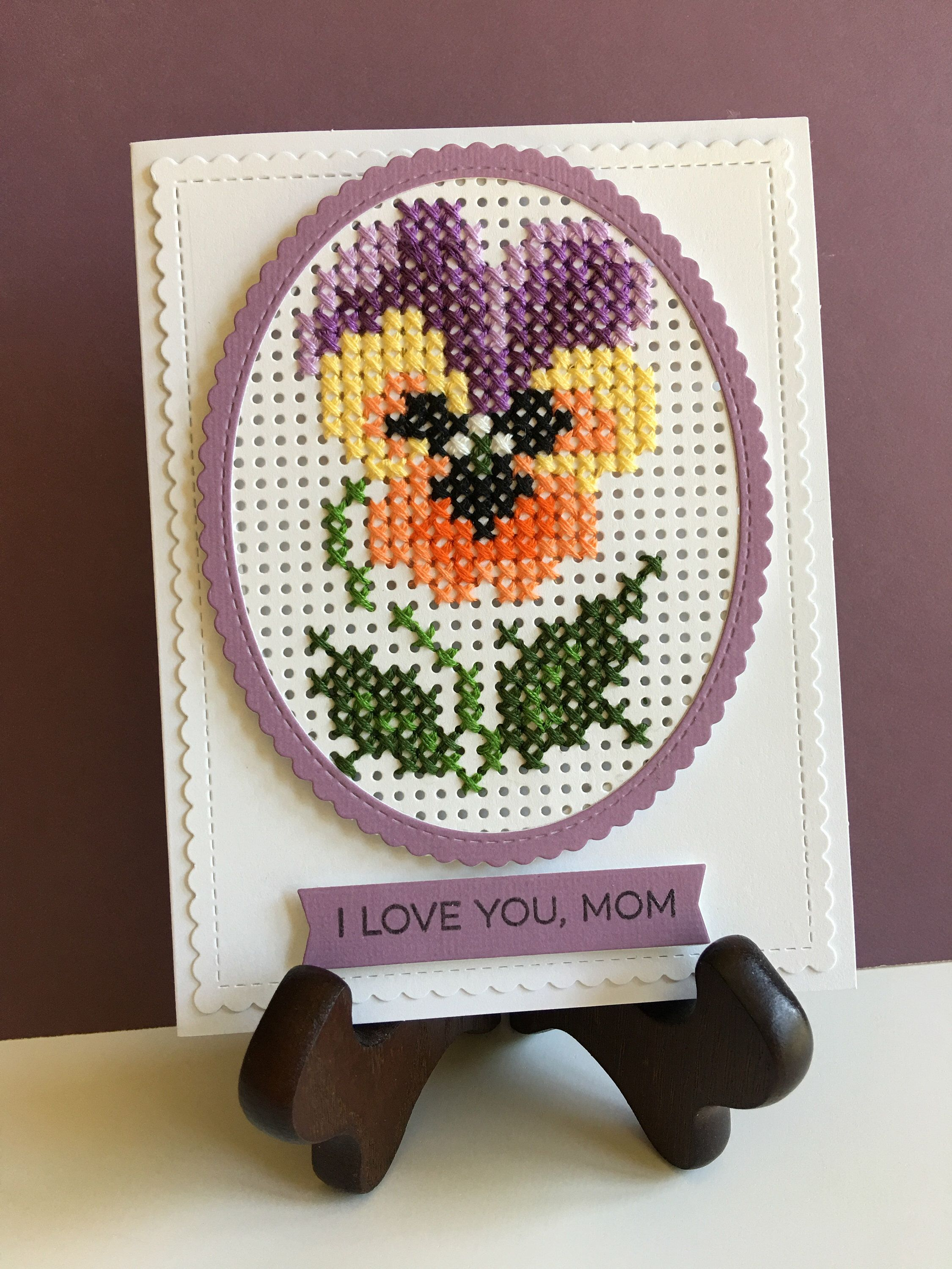Happy motherus day card cross stitched card handmade card