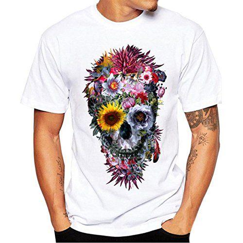 06298890ec4a Camiseta Hombre,Longra ☆ Camiseta de Cráneo Hombre Militares Camisetas  Deporte Ropa Deportiva Camisa de