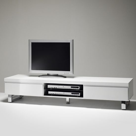 Sydney Lowboard TV Stand in High Gloss White With 2 Drawers. Sydney Lowboard TV Stand in High Gloss White With 2 Drawers   Tv