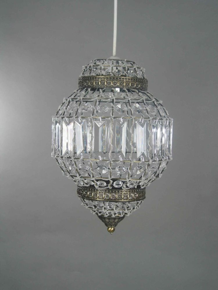 Moroccan Style Pendant Chandelier Shade Light Fitting Ceiling     Beautiful Moroccan style clear acrylic crystal shade with an antique brass  trim  Compatible with any modern ceiling light pendant fitting  fits  standard