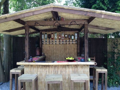 Outdoor Bar Home Garden Thatched Roof Tiki Gazebo Pub