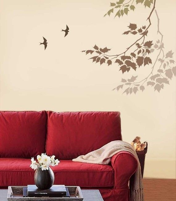 Wall Stencil Sycamore Reaching Branch Nature Stencils For Etsy Simple Wall Decor Stencil Wall Art Stencils Wall