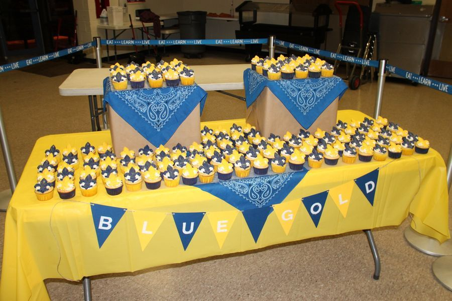 Cake Table Nice Cupcake Display Blue And Gold Boy Scout