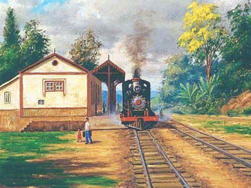 Pin de Antônio Lídio Gomes em Images, Paintings and Inspiration / Imagens, Pinturas e Inspiração | Desenho de trem, Pinturas de paisagem a óleo, Paisagem rural