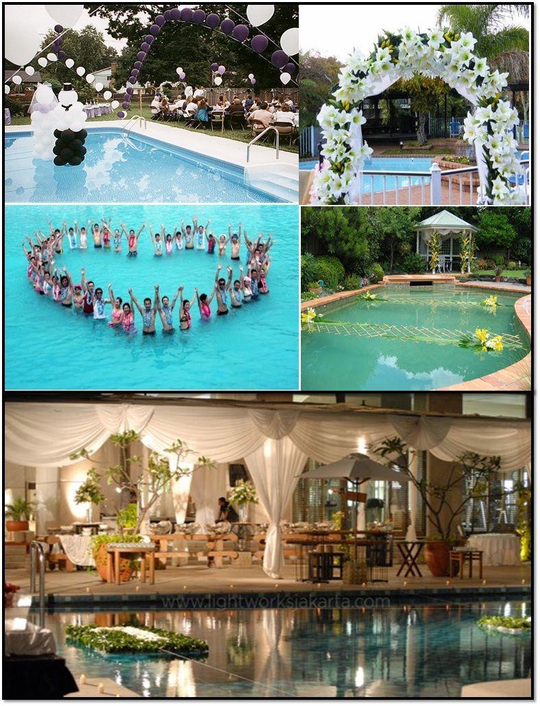 Wedding Ceremony Decorations Concepts Around Swimming Pool