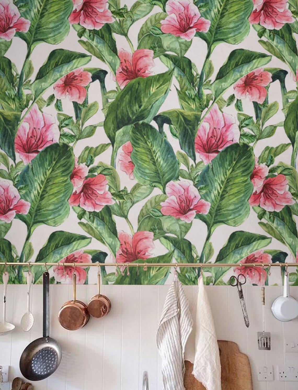 Banana leaf Wallpaper, Removable Wallpaper, Selfadhesive