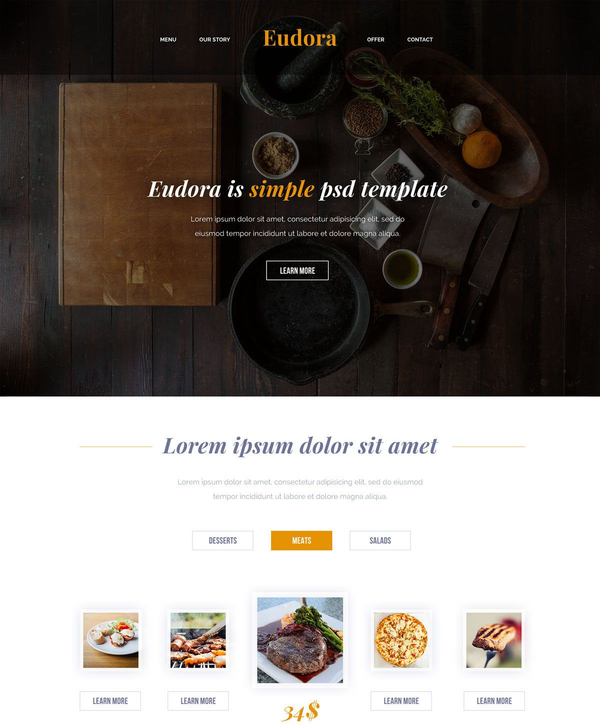 Eudora Free HTML Template for Restaurant & Food Websites Freebies ...