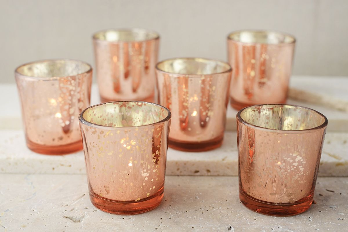 12 Rose Gold Mercury Glass Candle Holders Mercury glass candle