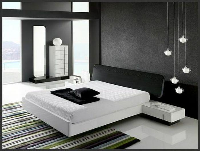 Wandgestaltung Schwarz Weiß Schlafzimmer Einrichten Weiss Schwarz ... Schlafzimmer Einrichten Schwarz