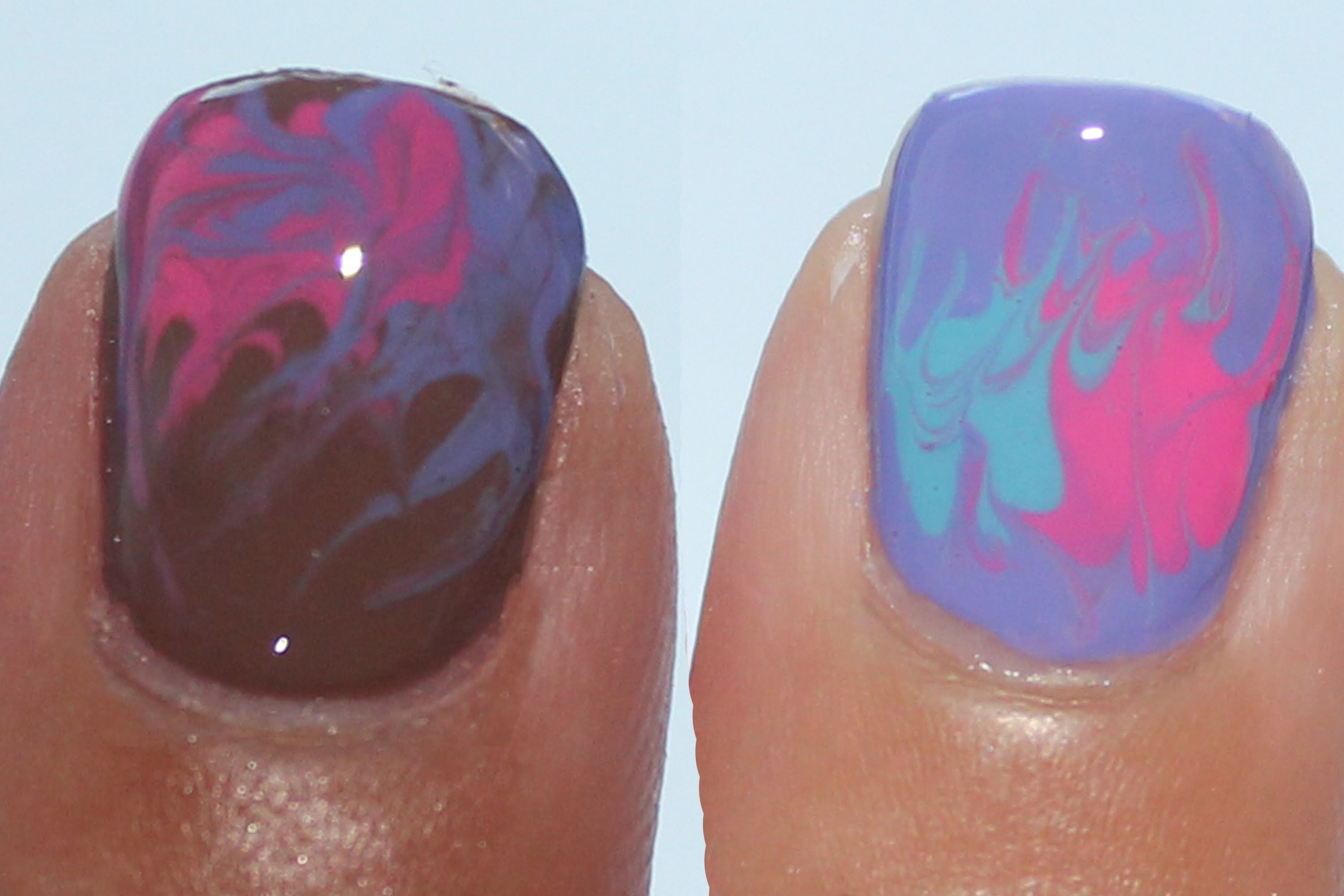 How to marble nail art without water tutorial fun nails