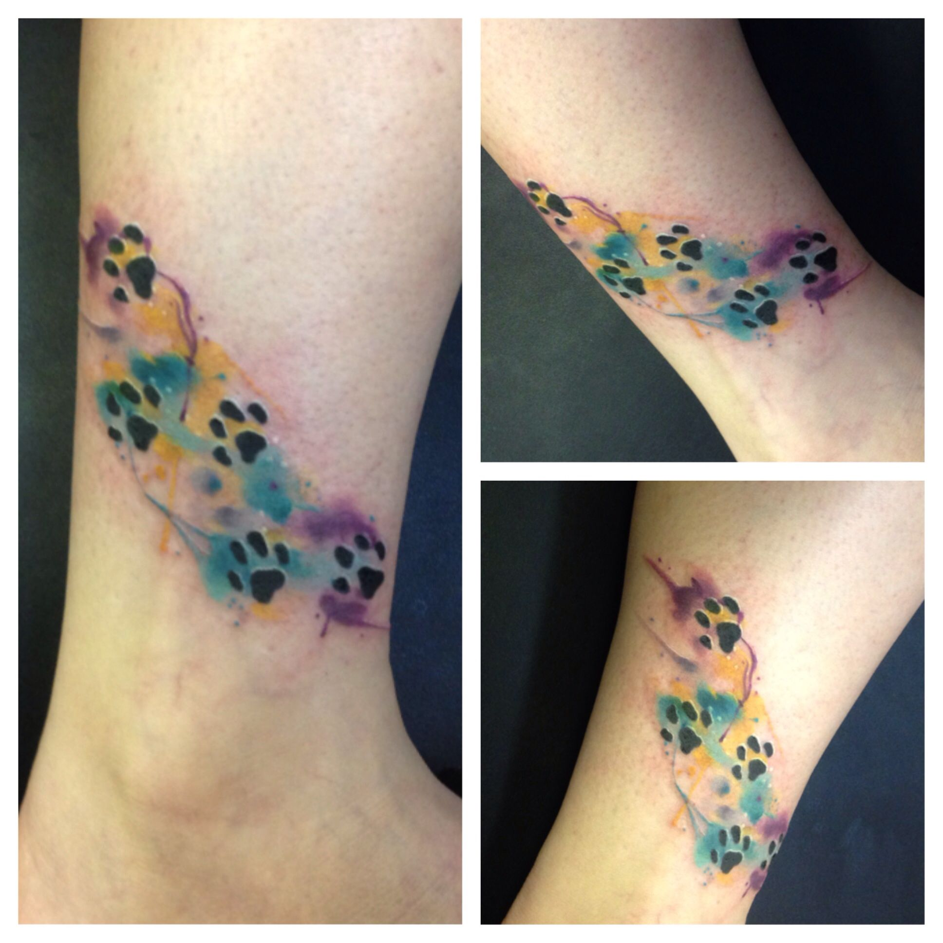 Colorful Watercolor Paw Print On The Forearm More