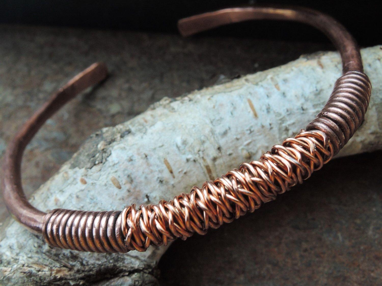 Copper bangle bracelet - Wire wrapped bracelet - Braided Copper ...
