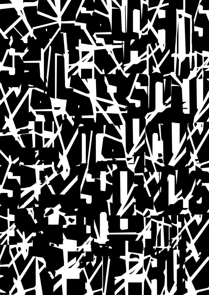 Typographic silkscreen print graphic black white pattern tania mouraud