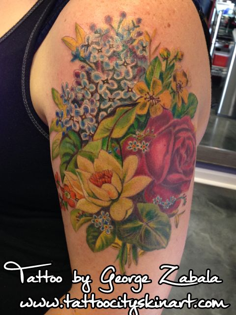 87ee088e57a31 Wildflowers, Lilies, Daffodils, Roses, Violets, realistic antique style.  Soft color Tattoo by George Zabala. Tattoo City Skin Art. Lockport, ...