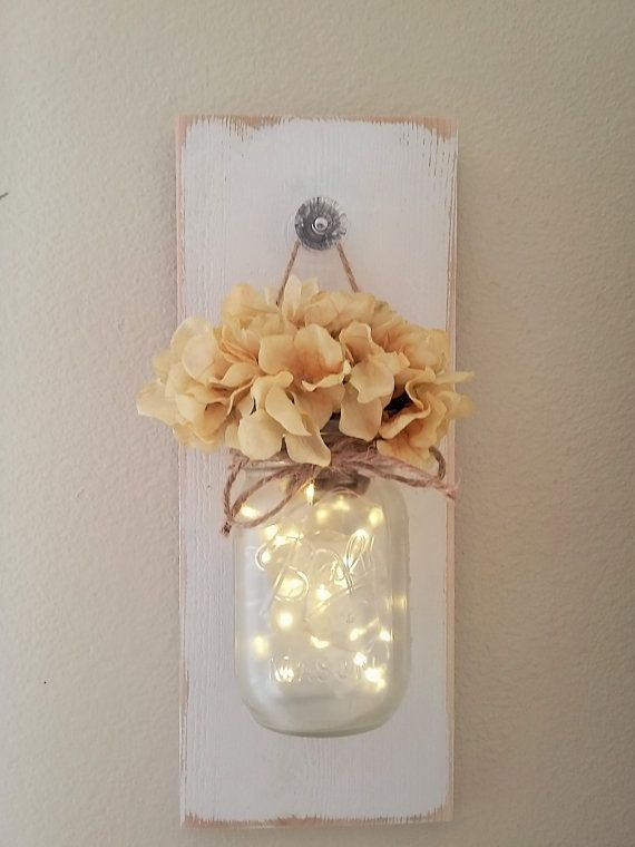 Lighted mason jar sconce mason jar wall decor mason jars with this is my take on a farmhouse chic wall sconce it is so simple and shabby but at the same time very elegant it measures 14 long and 55 wide aloadofball Image collections