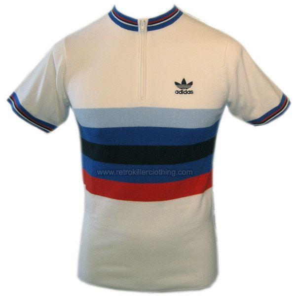 Adidas Originals Cycling Jersey White Red Blue Retro Top