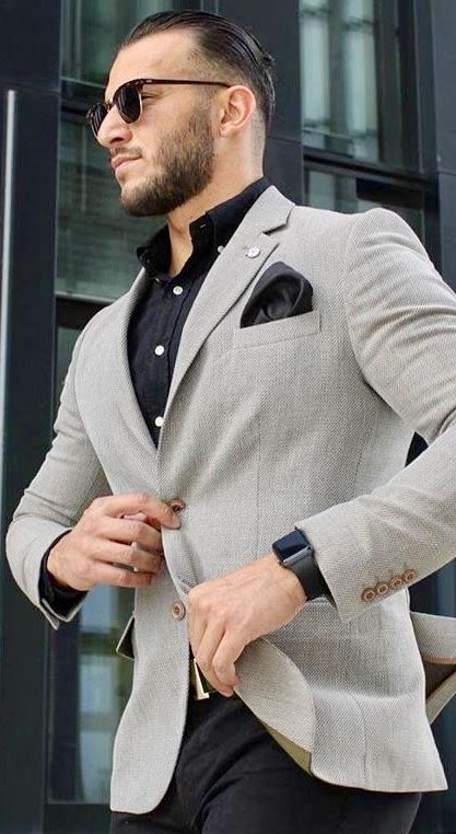 Grey sport coat with black pants and a black shirt. # ...