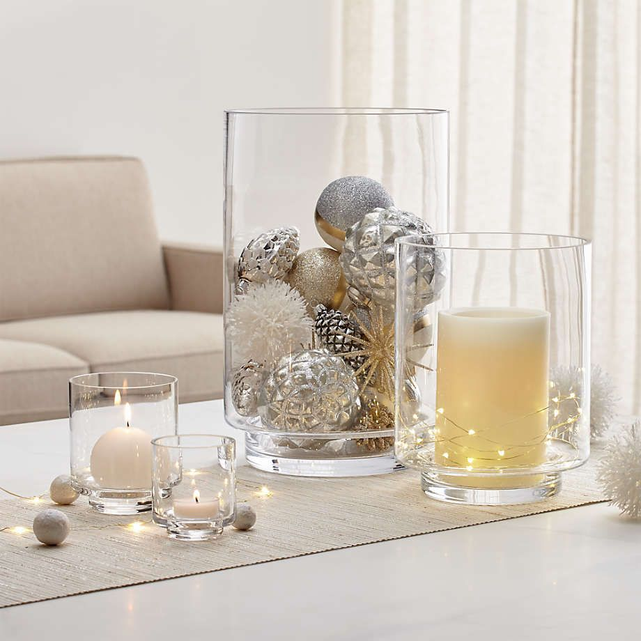 Taylor Large Glass Hurricane Candle Holder Reviews Crate And Barrel In 2021 Christmas Coffee Table Decor Hurricane Candles Hurricane Candle Holders