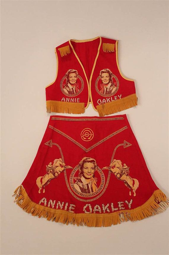 1950s Vintage Annie Oakley Halloween Costume With Skirt And Vest