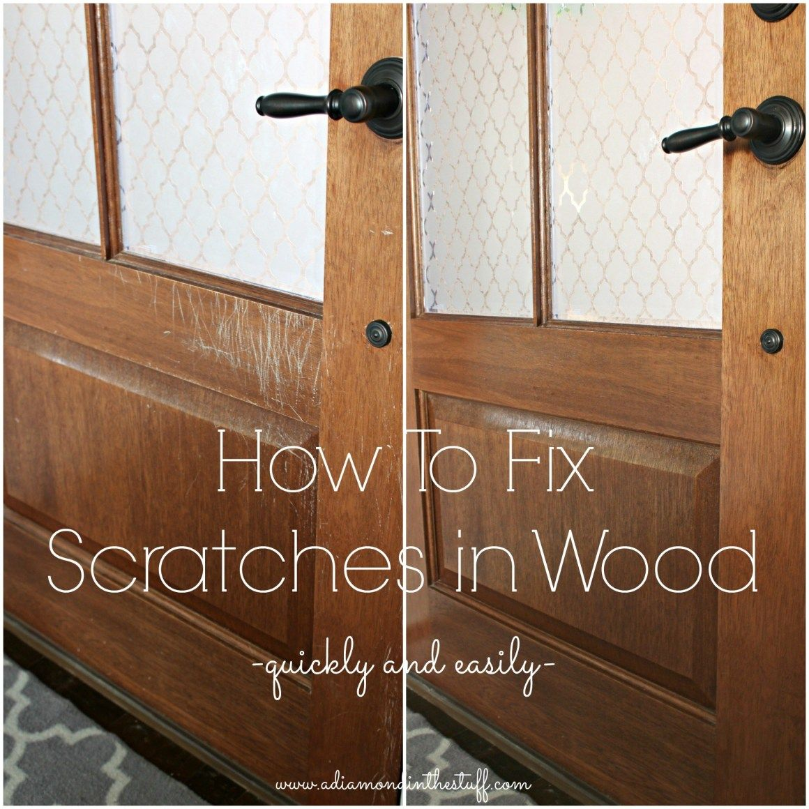 How To Fix Scratches In Wood Quickly And Easily A Diamond In The Stuff Repair Scratched Wood Fix Scratched Wood Wood Repair