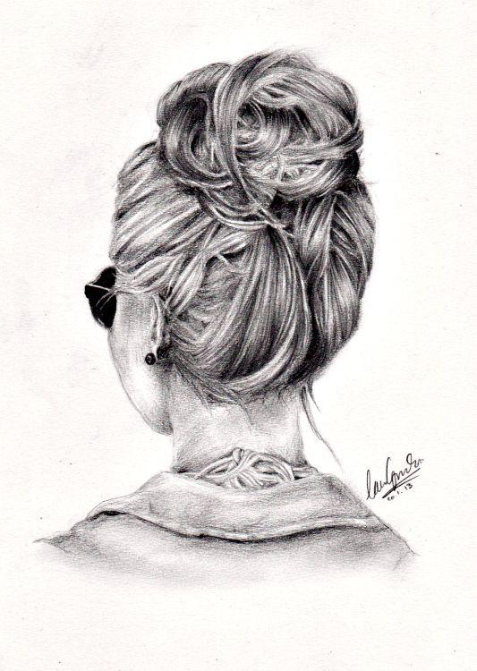 Messy Bun Easy Hair Drawings Drawings Girl Drawing