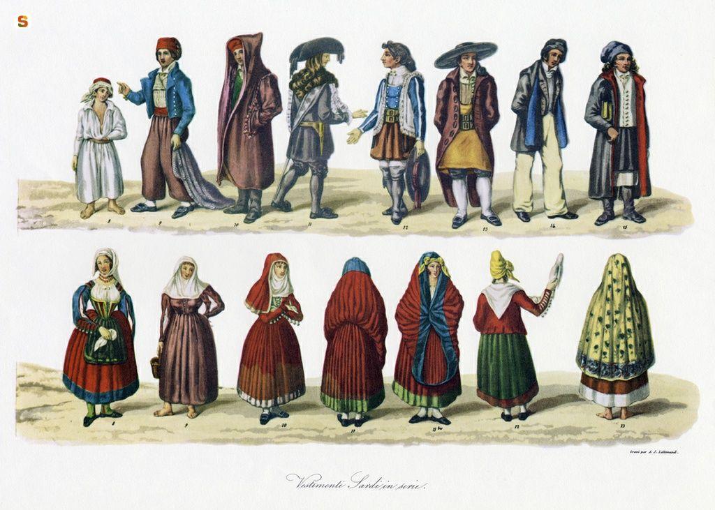 Risultati immagini per costumi sardi disegni