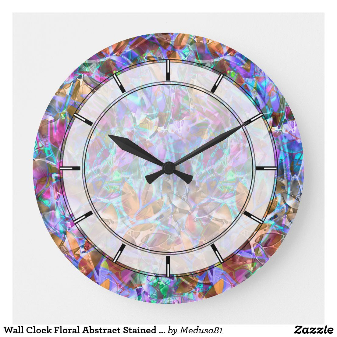 Wall Clock Floral Abstract Stained Glass Zazzle Com In 2020 Wall Clock Abstract Floral Custom Wall Clocks