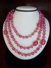 Miriam Haskell Necklace Vintage Pink Gold Art Glass Bead Brass Flapper Long