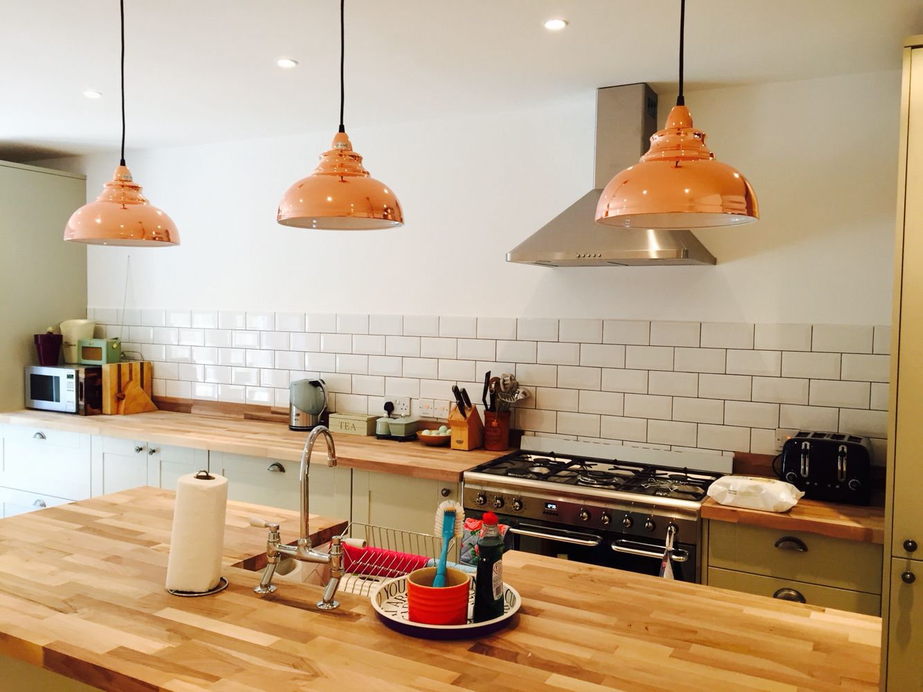 My Gorgeous Kitchen Subway Metro Tile Howdens Shaker Style Grey Cabinets Copper Hanging Lighting Island Walnut Counter Range Cooker