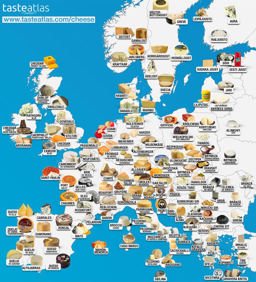 European cheeses food from different countries around