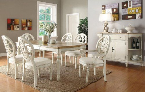 3F7104241PG   Rosamund Antique White/Oak Formal Dining Table + 6 Chairs    Furniture2Go