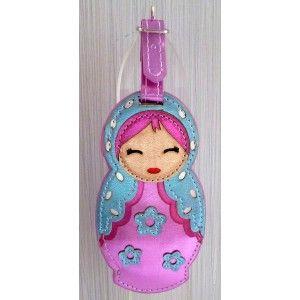 Luggage tag Babushka pink   #russiandoll #matryoshka #dollsindolls #decor #traditional #kids #toys #handmade
