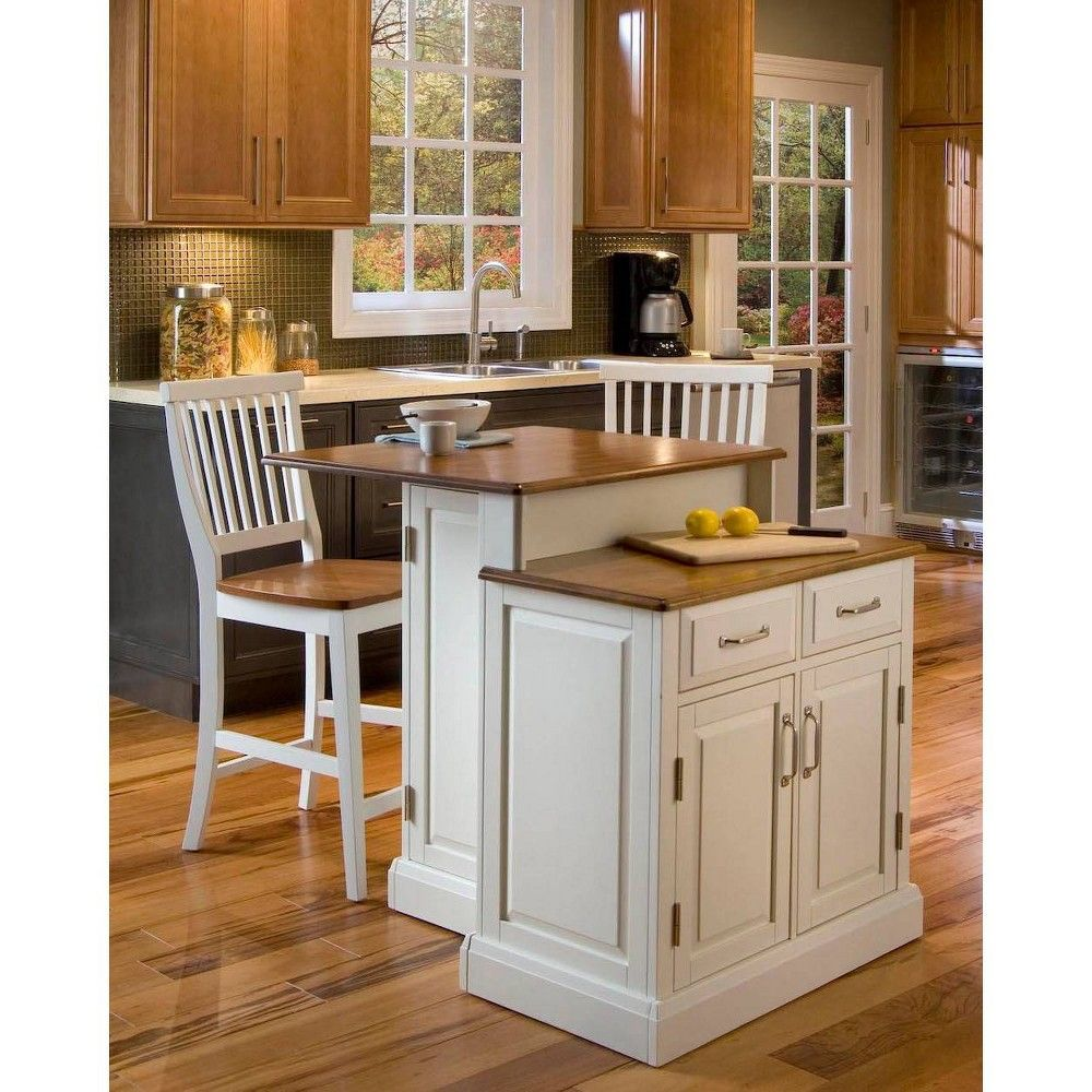 Woodbridge Two Tier Island And Two Stools White Brown Home Styles In 2020 White Kitchen Island Kitchen Island With Seating Stools For Kitchen Island
