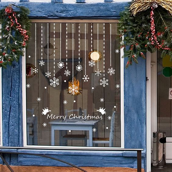 details zu weihnachten christmas stickers tattoo bilder wand fenster dekoration deko pvc fl c. Black Bedroom Furniture Sets. Home Design Ideas