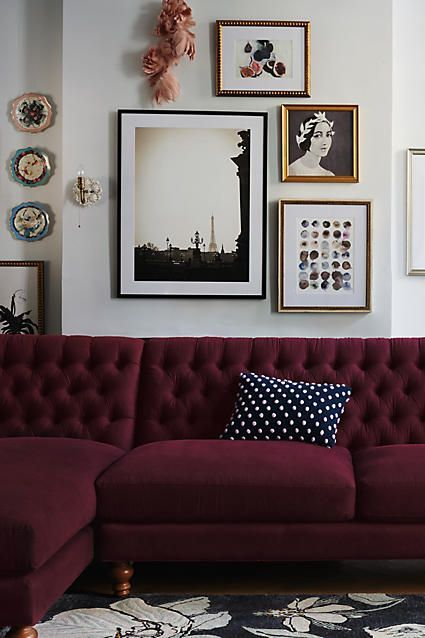 Cosy Autumn Vibes From This Vintage Inspired Living Room With A Plum Couch