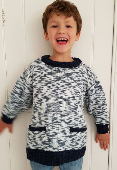 Kids Sweater With Contrast Edgings Free Knitting Pattern Knitting