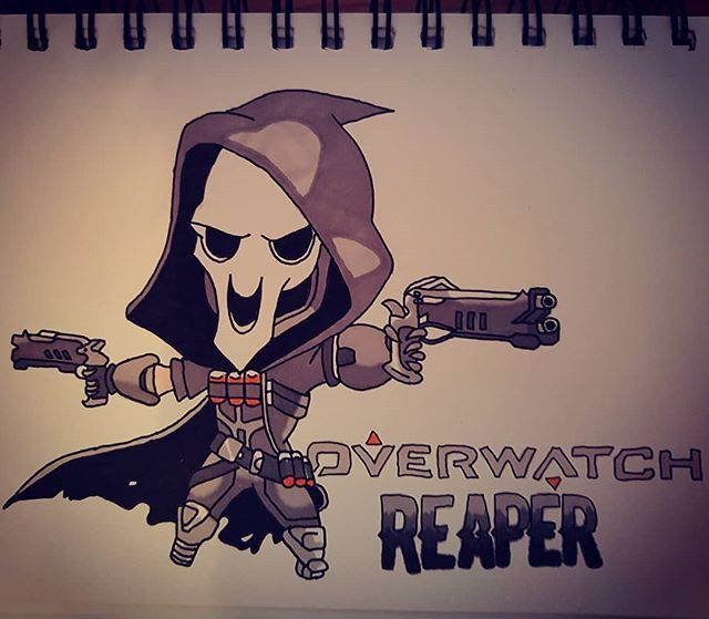 Reposting @kylemackay90: As I'm loving the overwatch league thought I would show my love with a reaper sketch #art #drawing #colour #sketch #reaper #overwatch
