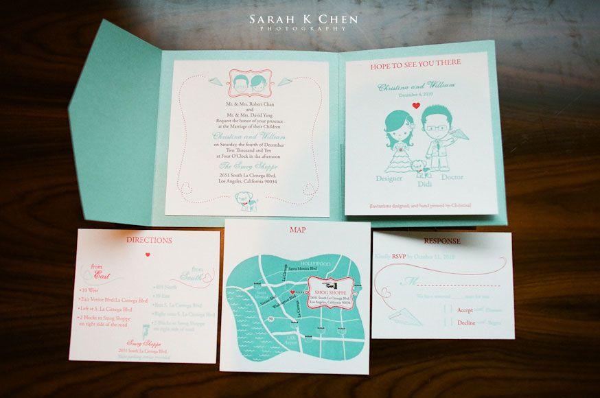 Real Weddings: Christina + William | Illustrated wedding invitations ...