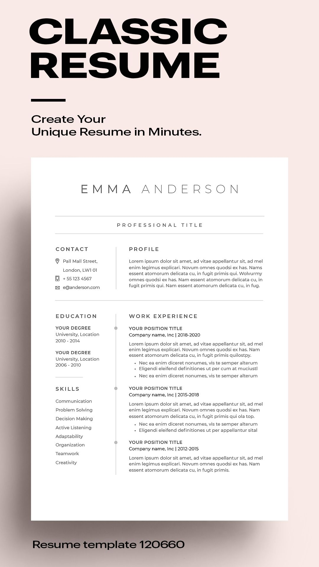 Classic Resume Template 120660 (color grey) MS Word